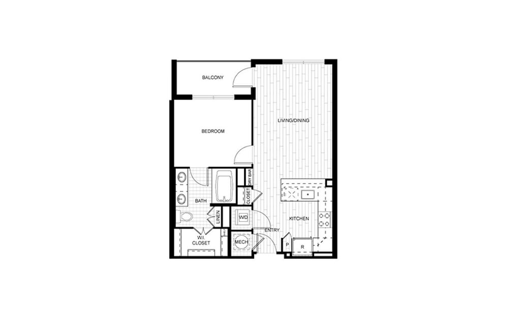 F.A02A - 1 bedroom floorplan layout with 1 bath and 647 to 659 square feet.