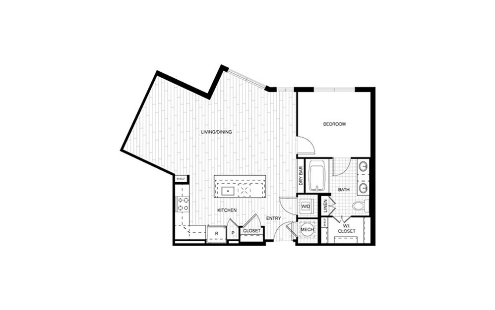 F.A07 - 1 bedroom floorplan layout with 1 bath and 822 square feet.