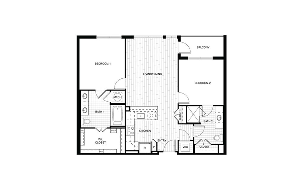 F.C01 - 2 bedroom floorplan layout with 2 baths and 996 to 1107 square feet.