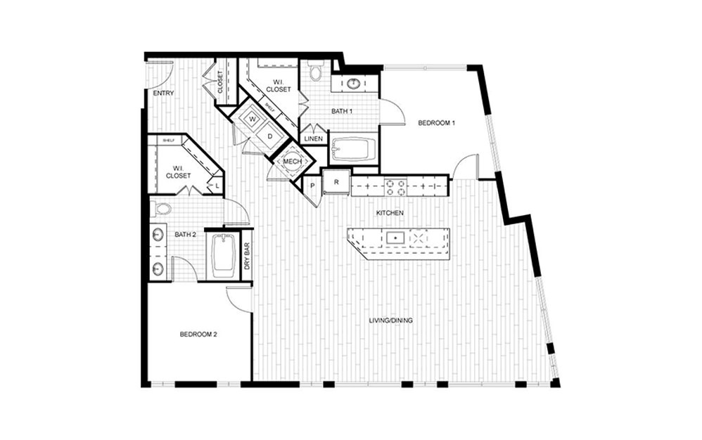 F.C03 - 2 bedroom floorplan layout with 2 baths and 1390 to 1425 square feet.