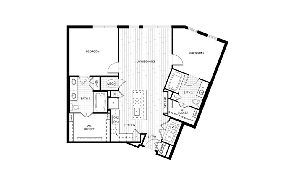 F.C04B - 2 bedroom floorplan layout with 2 baths and 1066 square feet.