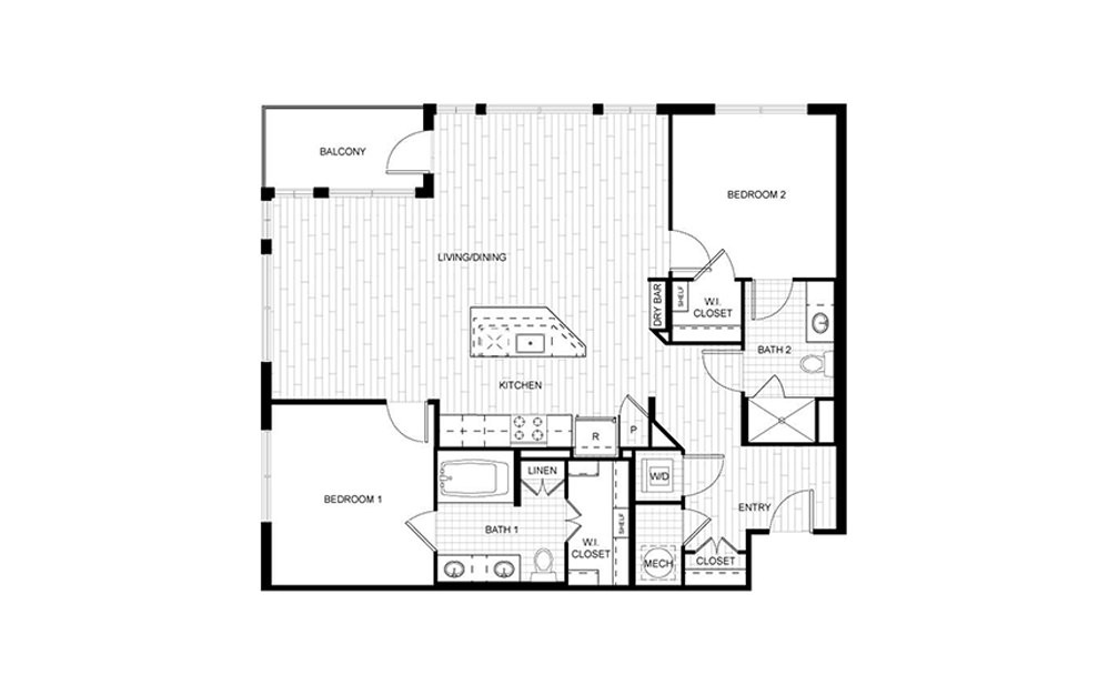 F.C05 - 2 bedroom floorplan layout with 2 baths and 1200 to 1207 square feet.