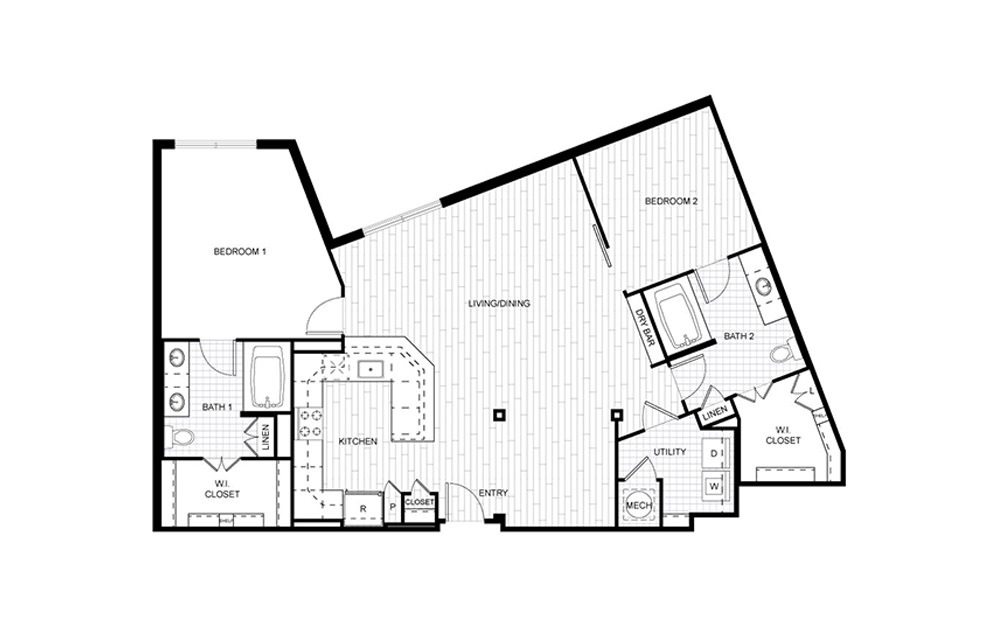 F.C10 - 2 bedroom floorplan layout with 2 baths and 1329 square feet.