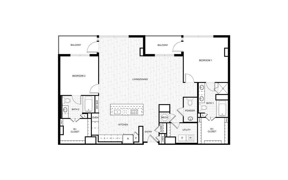 PH.D01 - 2 bedroom floorplan layout with 2.5 baths and 1589 to 1590 square feet.