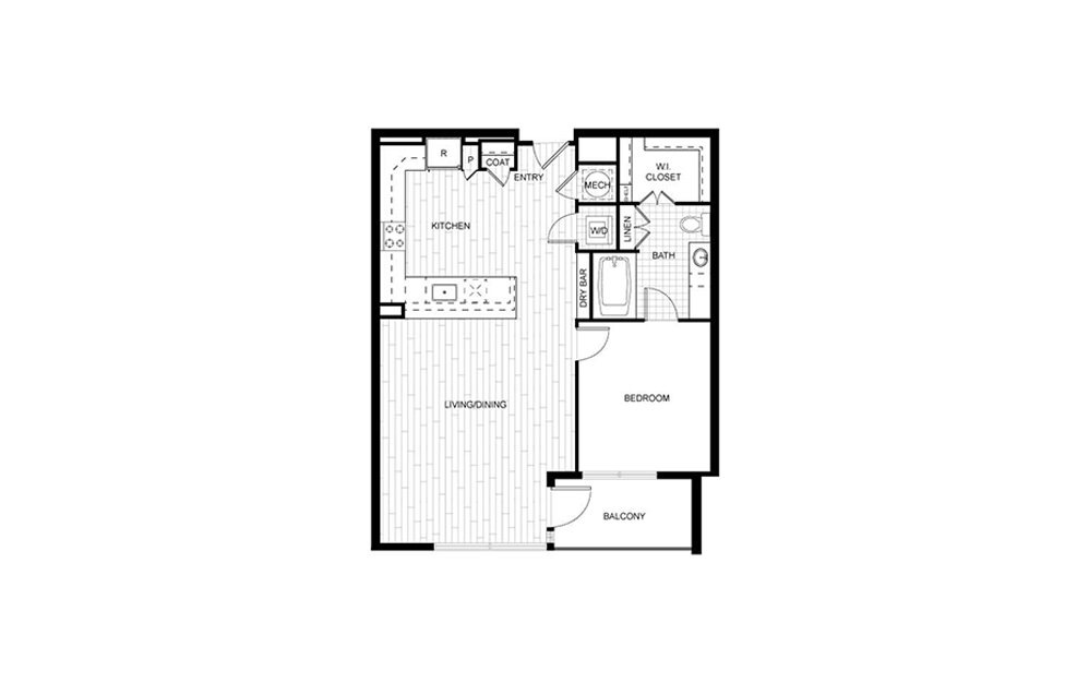 T.A01B - 1 bedroom floorplan layout with 1 bath and 833 square feet.