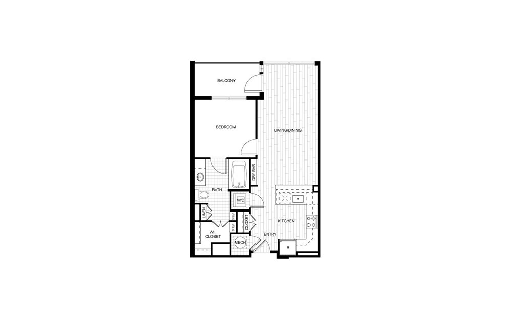 T.A02 - 1 bedroom floorplan layout with 1 bath and 664 to 682 square feet.