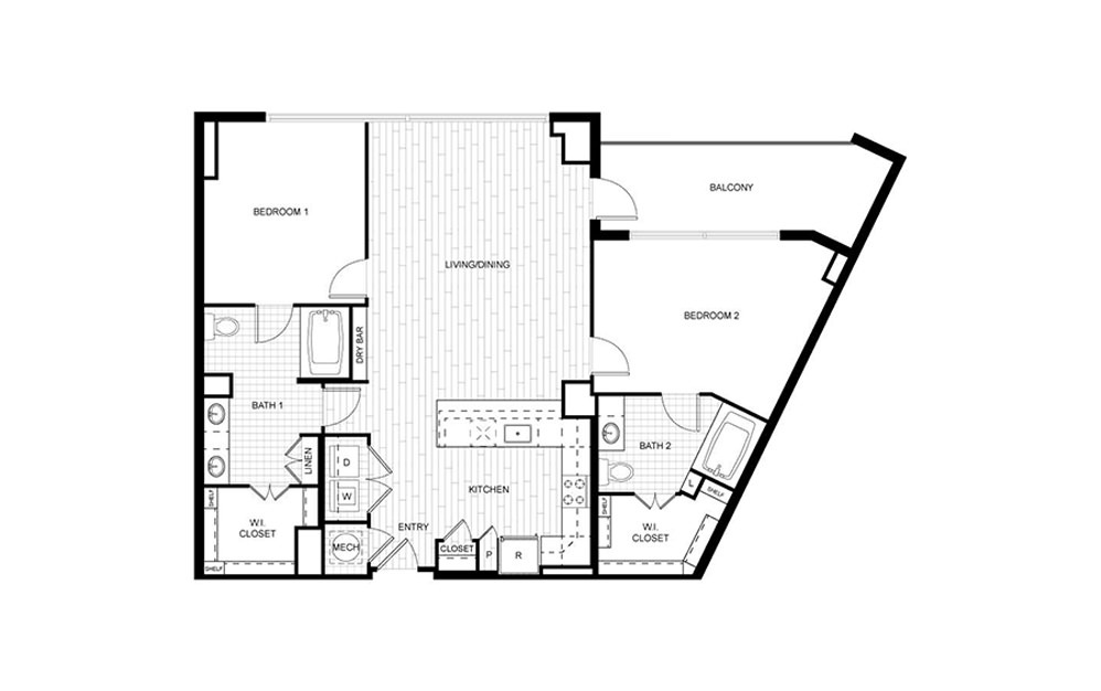 T.C04 - 2 bedroom floorplan layout with 2 baths and 1227 to 1284 square feet.