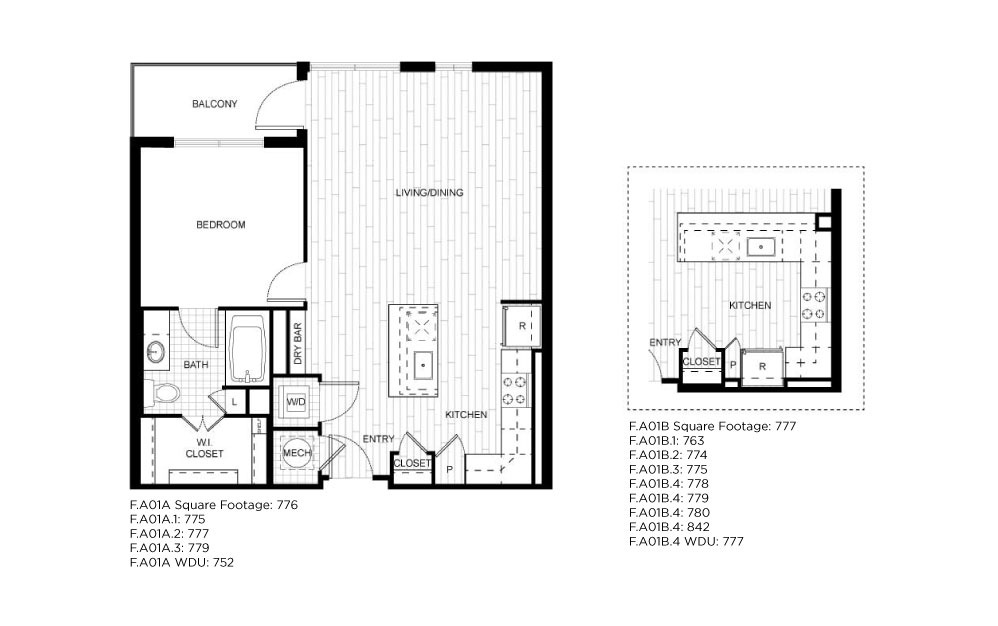 F.A01A_B - 1 bedroom floorplan layout with 1 bath and 763 to 842 square feet.