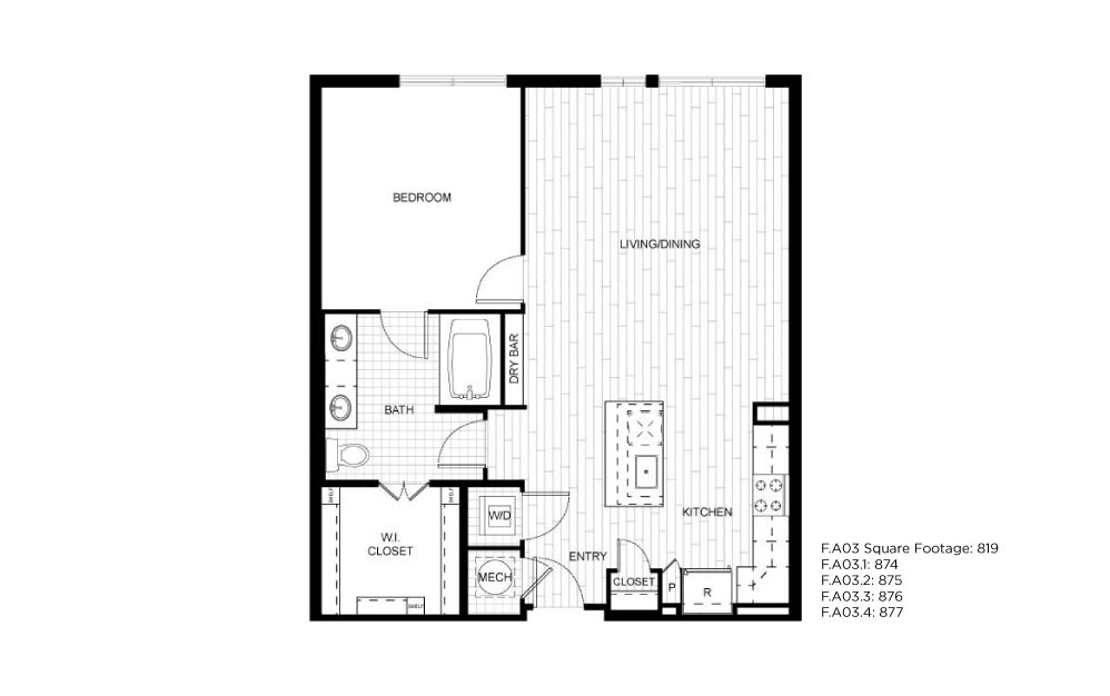 F.A03 - 1 bedroom floorplan layout with 1 bath and 819 to 877 square feet.