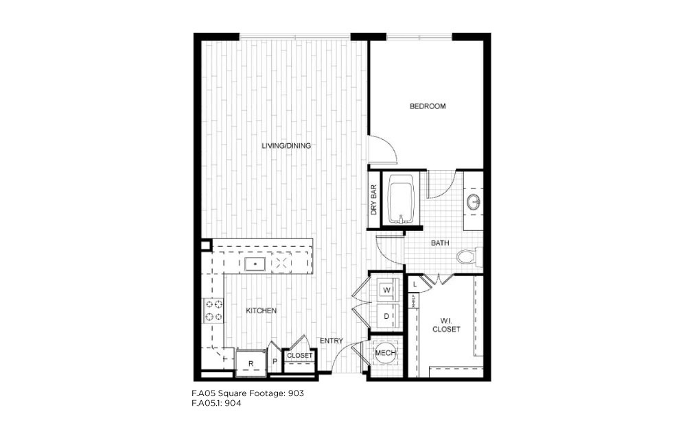 F.A05 - 1 bedroom floorplan layout with 1 bath and 903 to 904 square feet.