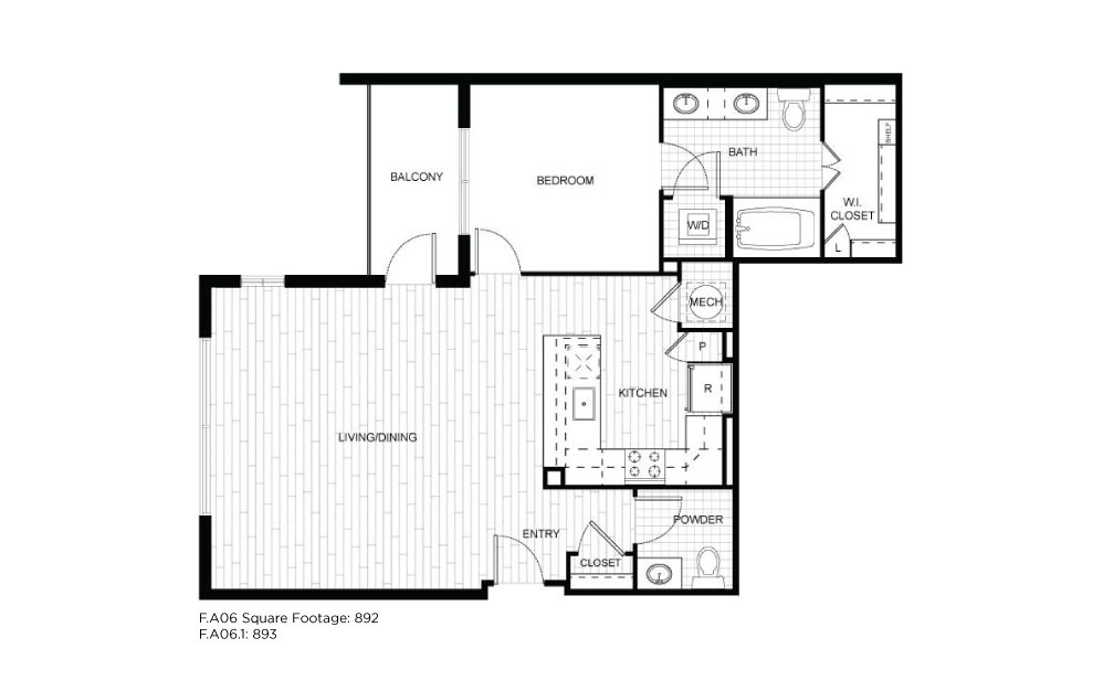 F.A06 - 1 bedroom floorplan layout with 1.5 bath and 892 to 893 square feet.