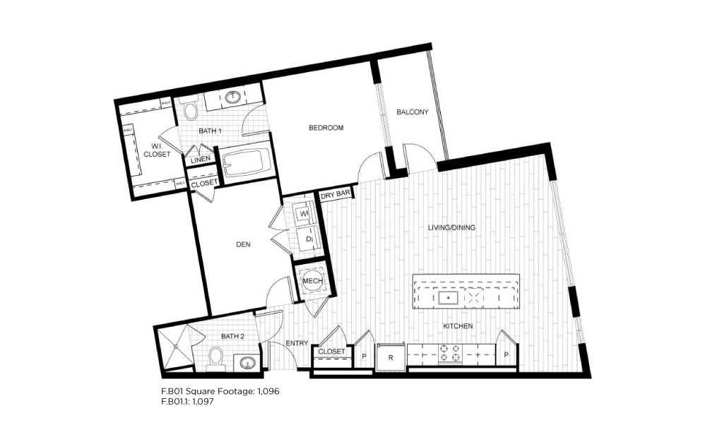 F.B01 - 1 bedroom floorplan layout with 2 baths and 1096 to 1097 square feet.
