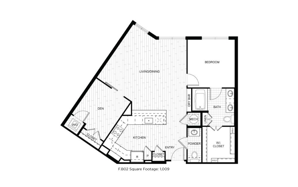 F.B02 - 1 bedroom floorplan layout with 1.5 bath and 1009 square feet.