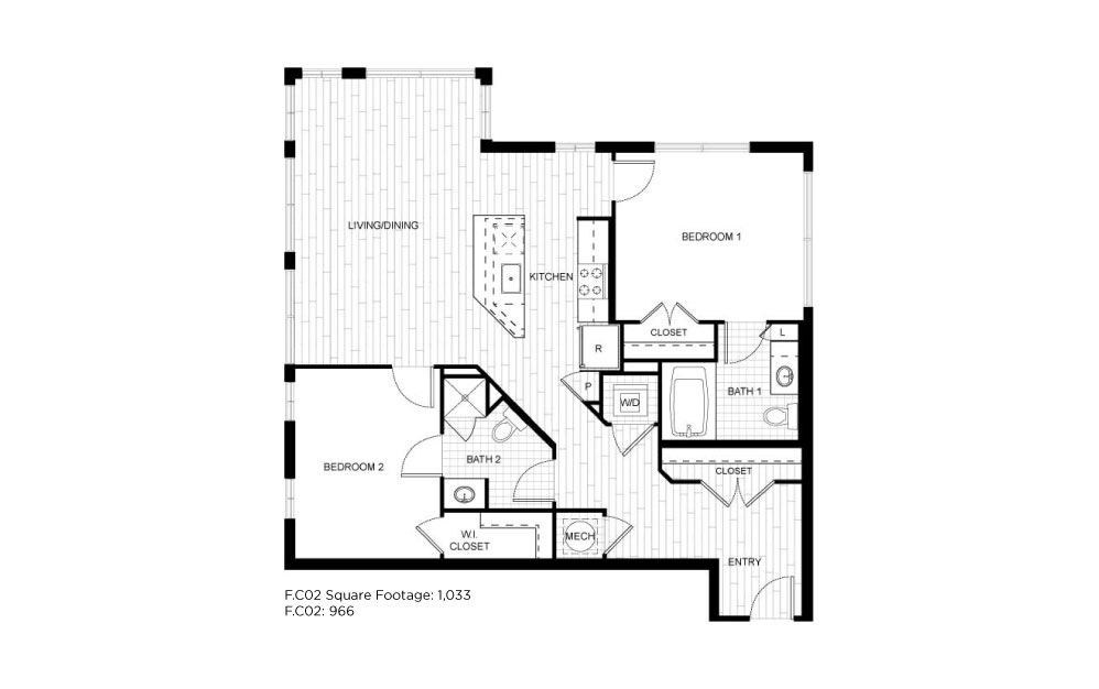 F.C02 - 2 bedroom floorplan layout with 2 baths and 1033 square feet.