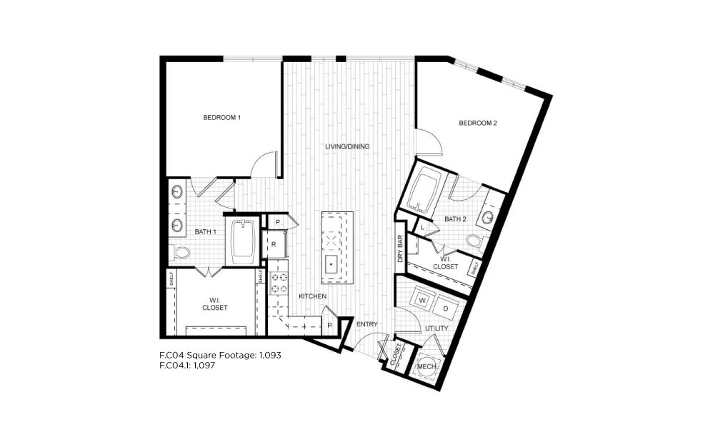 F.C04 - 2 bedroom floorplan layout with 2 baths and 1093 to 1097 square feet.
