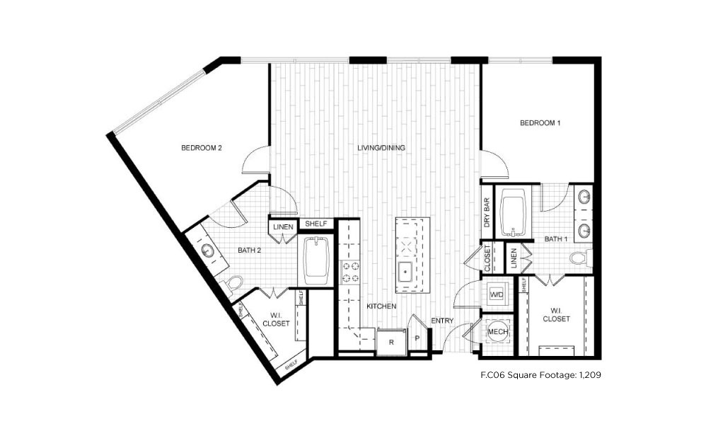 F.C06 - 2 bedroom floorplan layout with 2 baths and 1209 square feet.