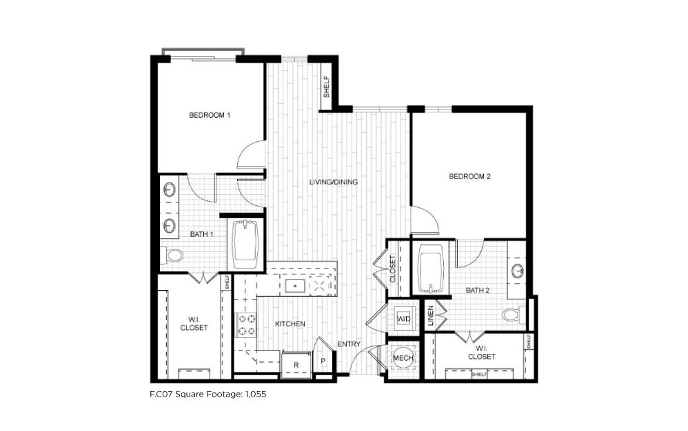 F.C07 - 2 bedroom floorplan layout with 2 baths and 1055 square feet.