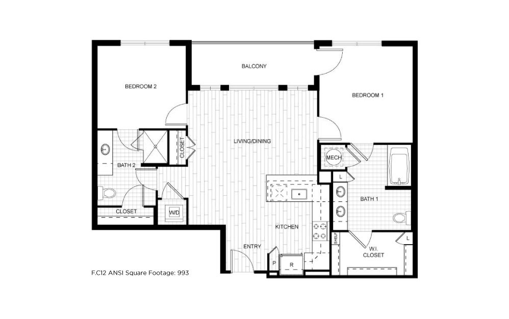 F.C12ANSI - 2 bedroom floorplan layout with 2 baths and 993 square feet.