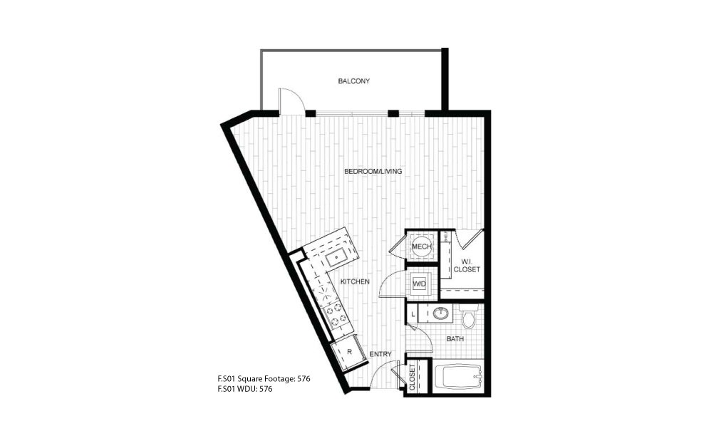 F.S01 - 1 bedroom floorplan layout with 1 bath and 576 square feet.
