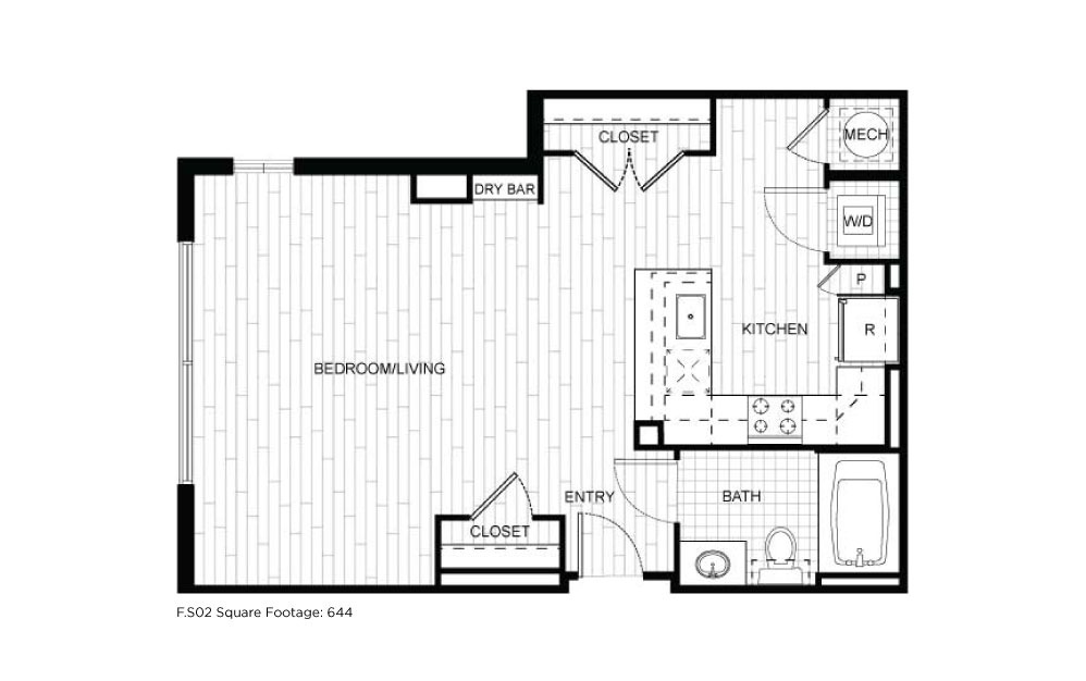 F.S02 - 1 bedroom floorplan layout with 1 bath and 644 square feet.
