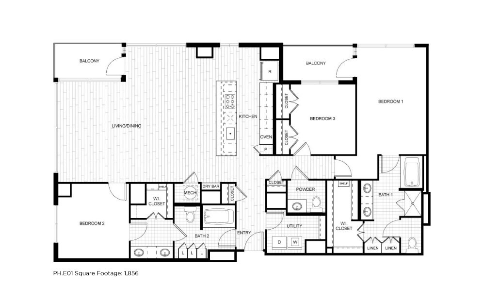 PH.E01 - 3 bedroom floorplan layout with 2.5 baths and 1856 square feet.