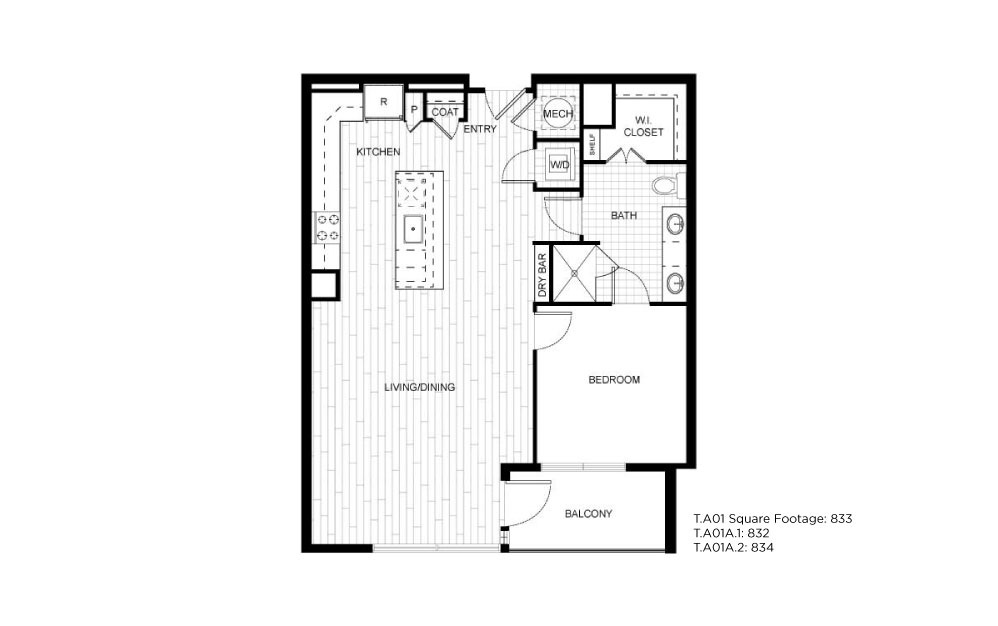 T.A01A - 1 bedroom floorplan layout with 1 bath and 832 to 834 square feet.