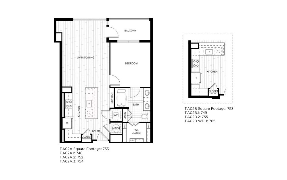 T.A02A_B - 1 bedroom floorplan layout with 1 bath and 748 to 755 square feet.