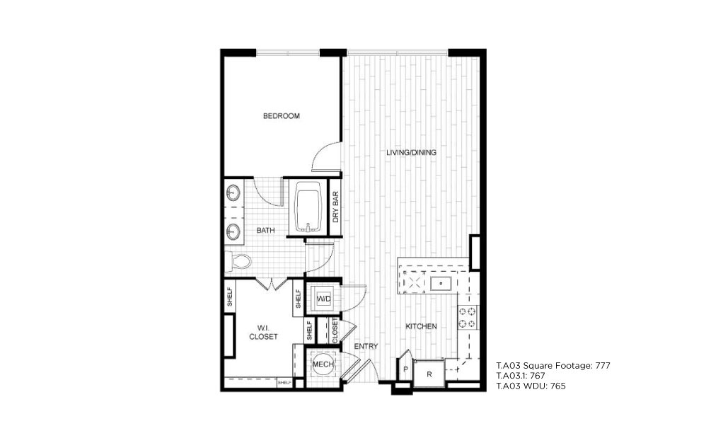 T.A03 - 1 bedroom floorplan layout with 1 bath and 767 to 777 square feet.