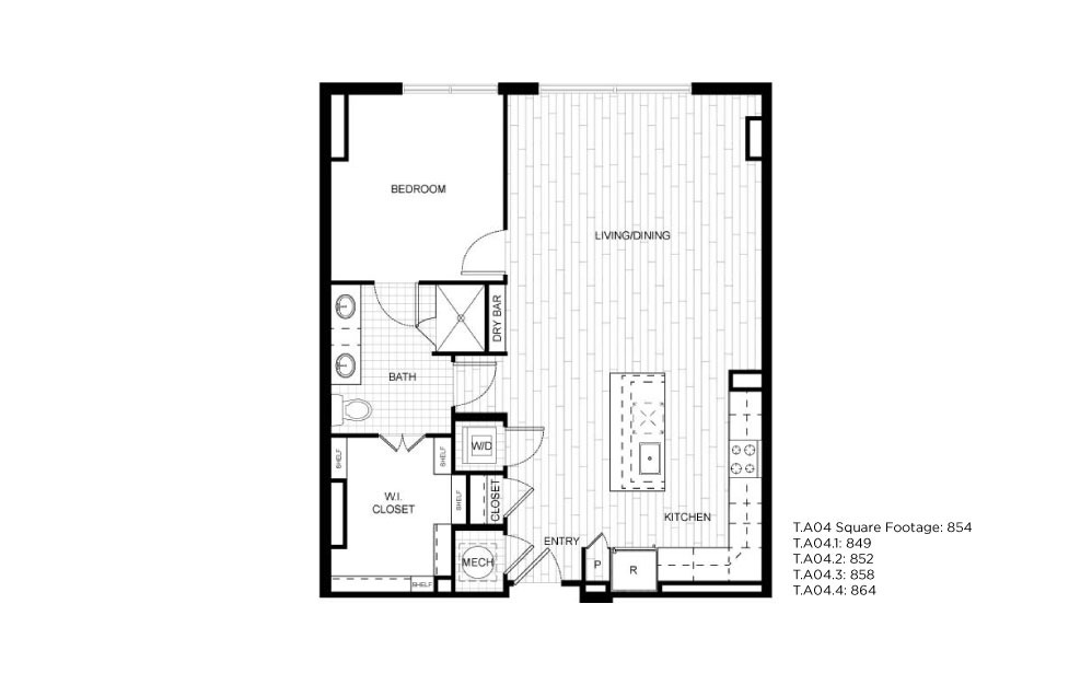 T.A04 - 1 bedroom floorplan layout with 1 bath and 849 to 864 square feet.