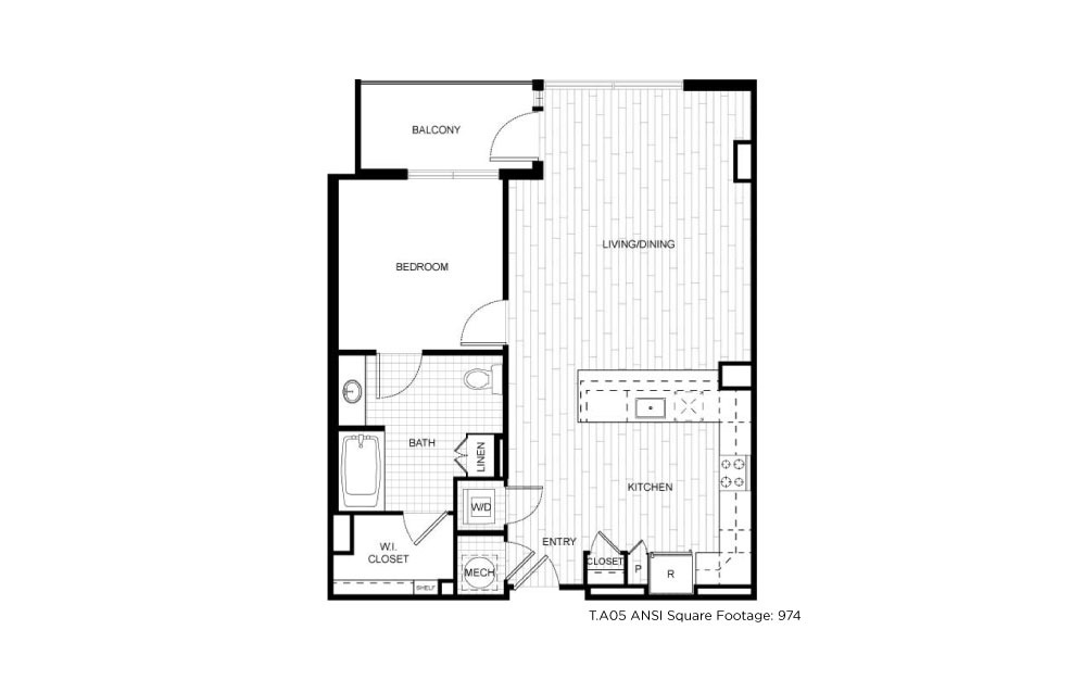 T.A05ANSI - 1 bedroom floorplan layout with 1 bath and 833 square feet.