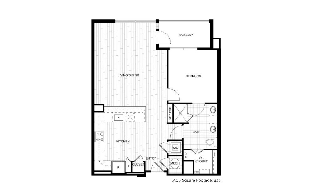 T.A06 - 1 bedroom floorplan layout with 1 bath and 833 square feet.