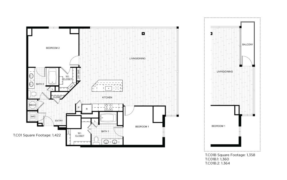 T.C01_T.C01B - 2 bedroom floorplan layout with 2 baths and 1358 to 1422 square feet.