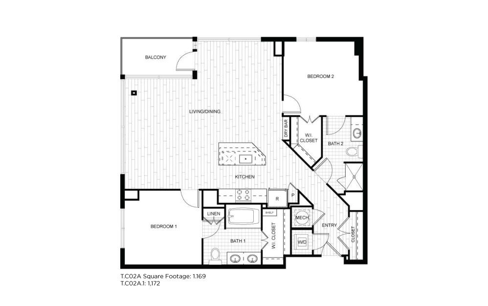 T.C02A - 2 bedroom floorplan layout with 2 baths and 1169 to 1172 square feet.