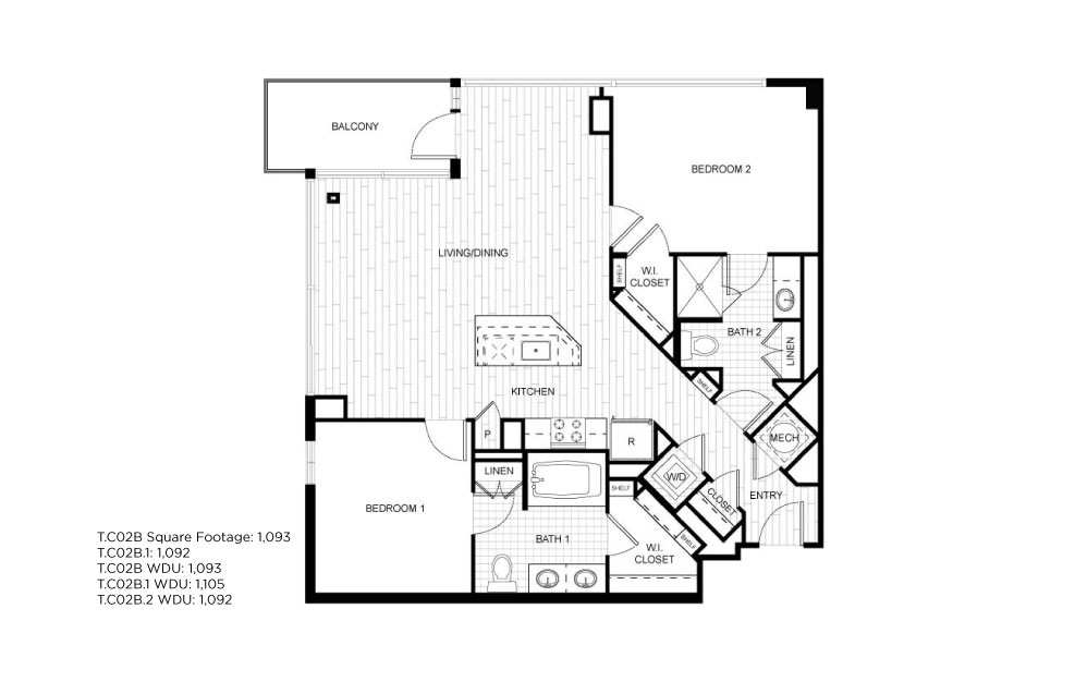 T.C02B - 2 bedroom floorplan layout with 2 baths and 1092 to 1093 square feet.
