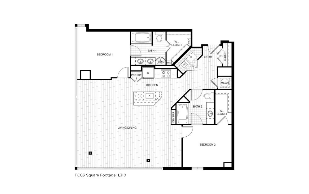 T.C03 - 2 bedroom floorplan layout with 2 baths and 1310 square feet.