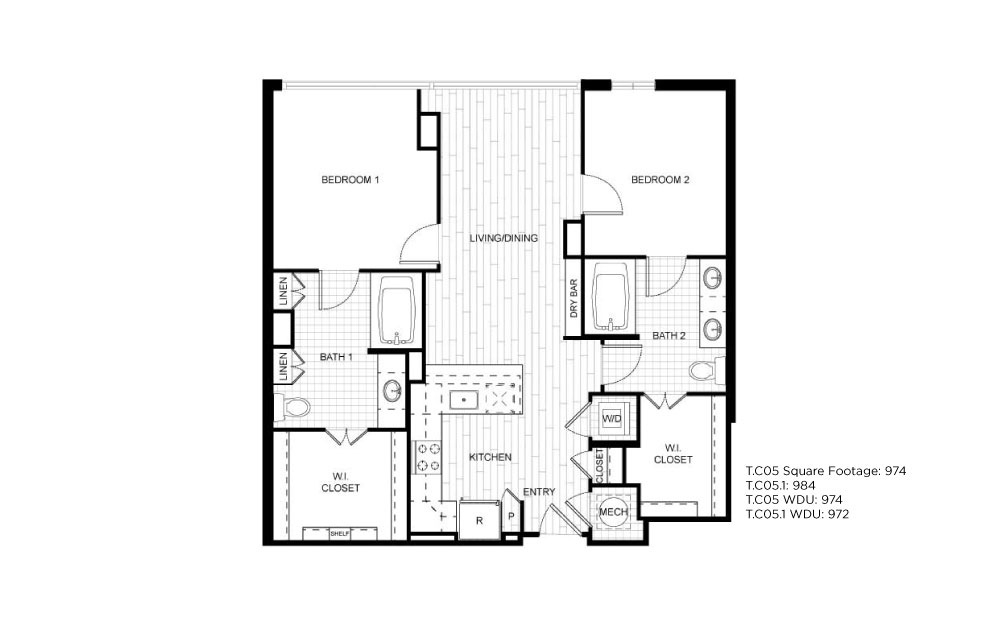 T.C05 - 2 bedroom floorplan layout with 2 baths and 974 to 984 square feet.