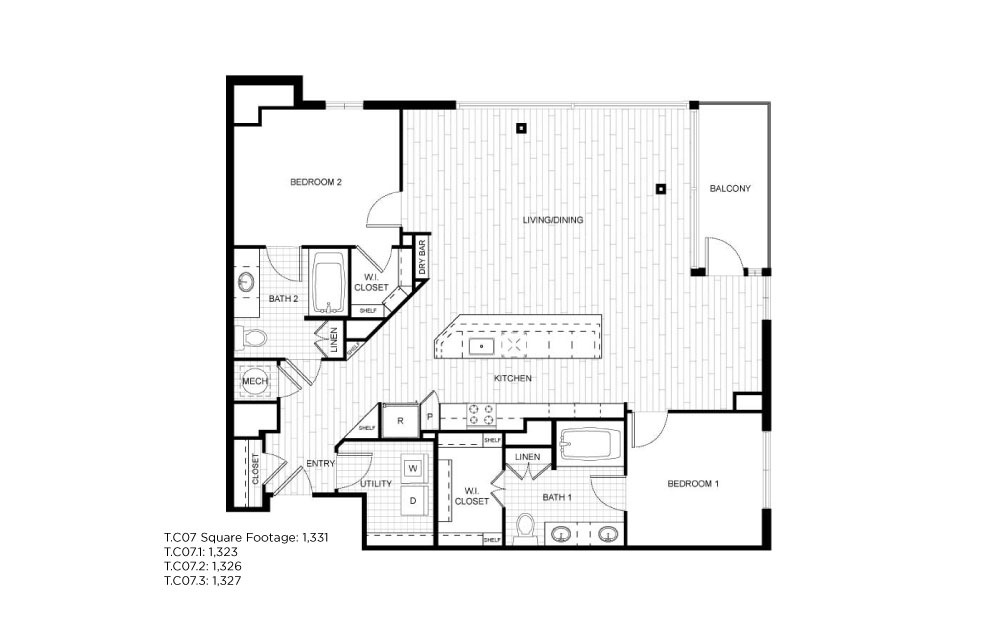 T.C07 - 2 bedroom floorplan layout with 2 baths and 1323 to 1331 square feet.