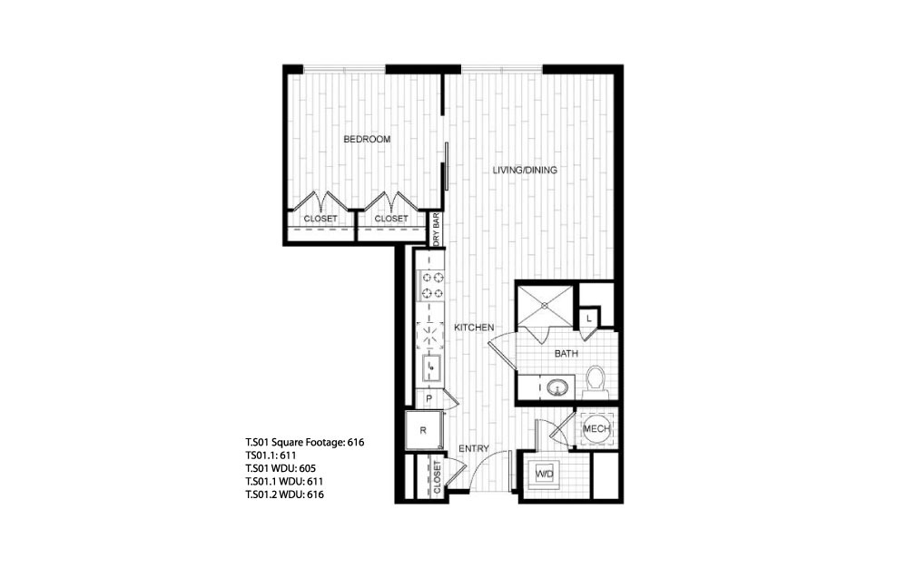 T.S01 - 1 bedroom floorplan layout with 1 bath and 611 to 616 square feet.